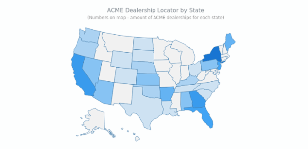Dealership Locator | Maps Choropleth | AnyMap Gallery | AnyChart
