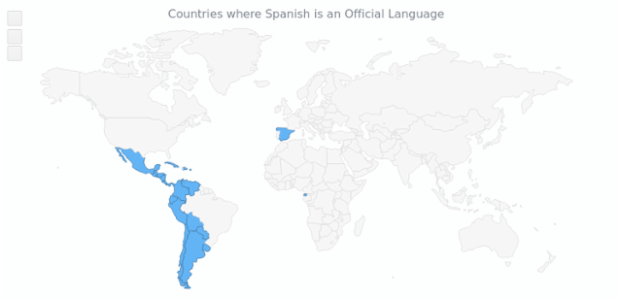 Spanish Language on World Map | Maps Choropleth | AnyMap Gallery | AnyChart