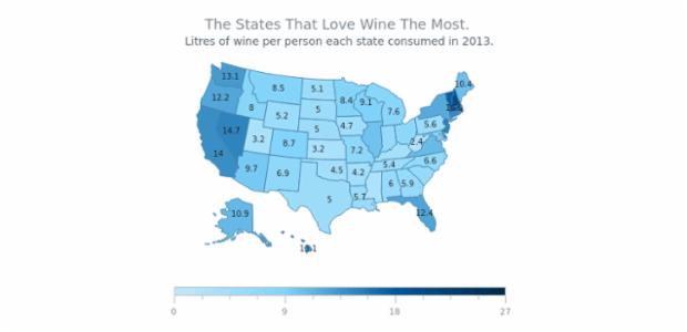 Wine Consumption Map of USA | Maps Choropleth | AnyMap Gallery | AnyChart
