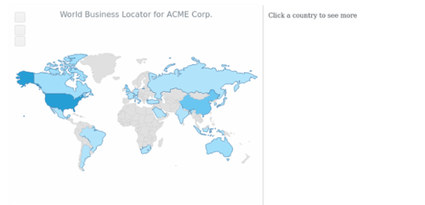 World Business Locator | Maps Choropleth | AnyMap Gallery | AnyChart