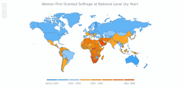 World Women Suffrage Map | Maps Choropleth | AnyMap Gallery | AnyChart