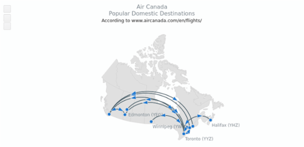 Air Canada Popular Destinations | Maps Connectors | AnyChart