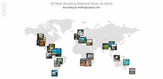 35 Most Amazing National Parks on Earth | Maps Point Maps (Dot Maps) | AnyChart
