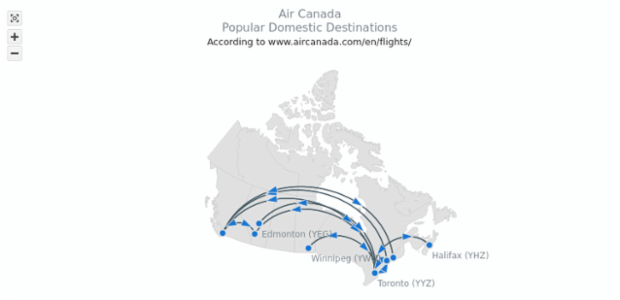 Air Canada Popular Destinations | Maps Connectors | AnyMap Gallery | AnyChart