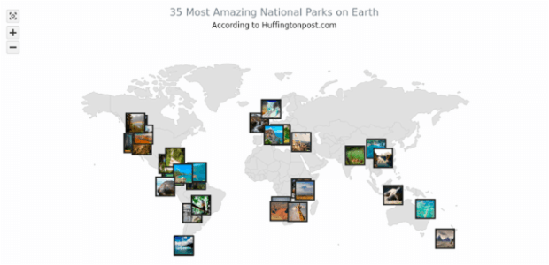 35 Most Amazing National Parks on Earth | Maps Point Maps (Dot Maps) | AnyMap Gallery | AnyChart