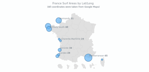 France Surf Areas by Lat Long | Maps Bubble | AnyMap Gallery | AnyChart