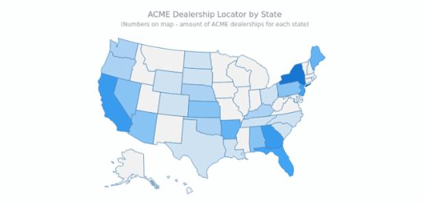 Dealership Locator   Maps Choropleth   AnyMap Gallery   AnyChart