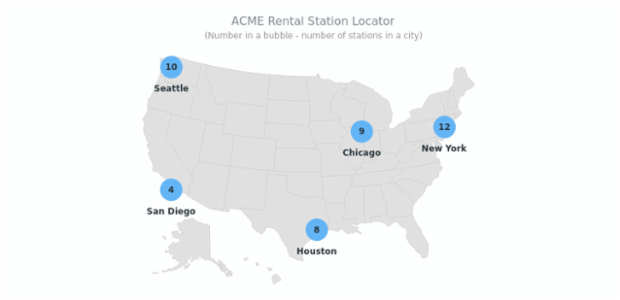 Rental Station Locator | Maps Point Maps (Dot Maps) | AnyMap Gallery | AnyChart