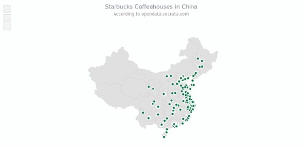 Starbucks in China | Maps Point Maps (Dot Maps) | AnyMap Gallery | AnyChart