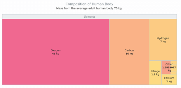 Composition of the human body | Tree Map Charts | AnyChart Gallery | AnyChart