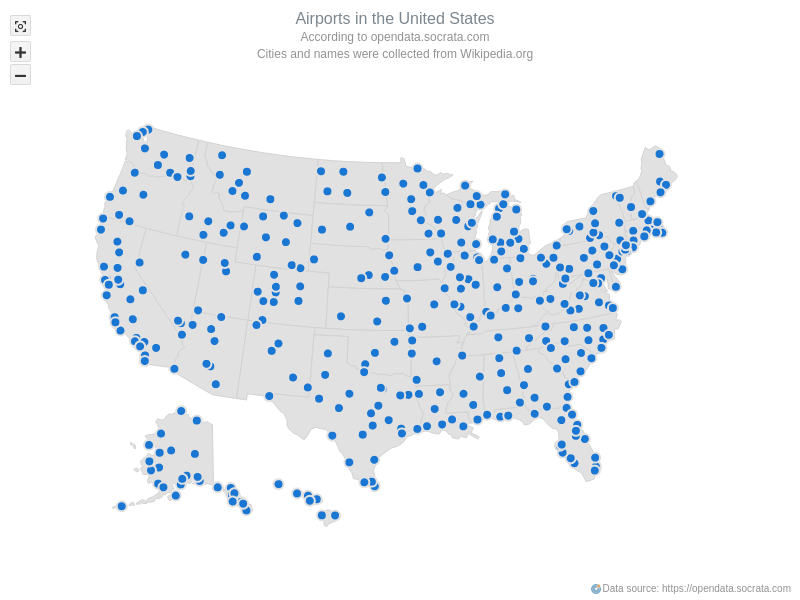 USA Airports   Maps Point Maps (Dot Maps)   AnyMap Gallery   AnyChart