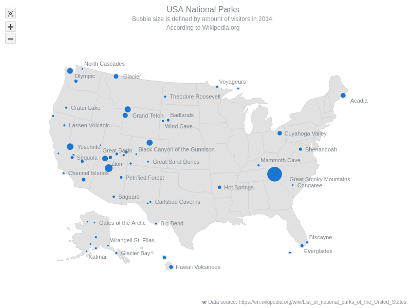 USA National Parks | Maps Bubble | AnyMap Gallery | AnyChart