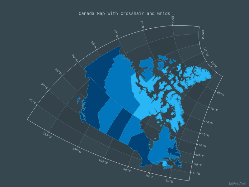 Canada Map with Crosshair and Grids with Dark Blue theme | Maps General Features | AnyMap Gallery | AnyChart