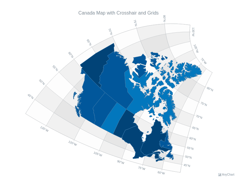 Canada Map with Crosshair and Grids | Maps General Features | AnyMap Gallery | AnyChart