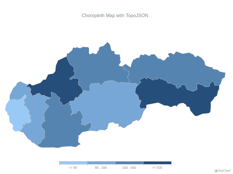 Choropleth Map with TopoJSON | Maps General Features | AnyMap Gallery | AnyChart