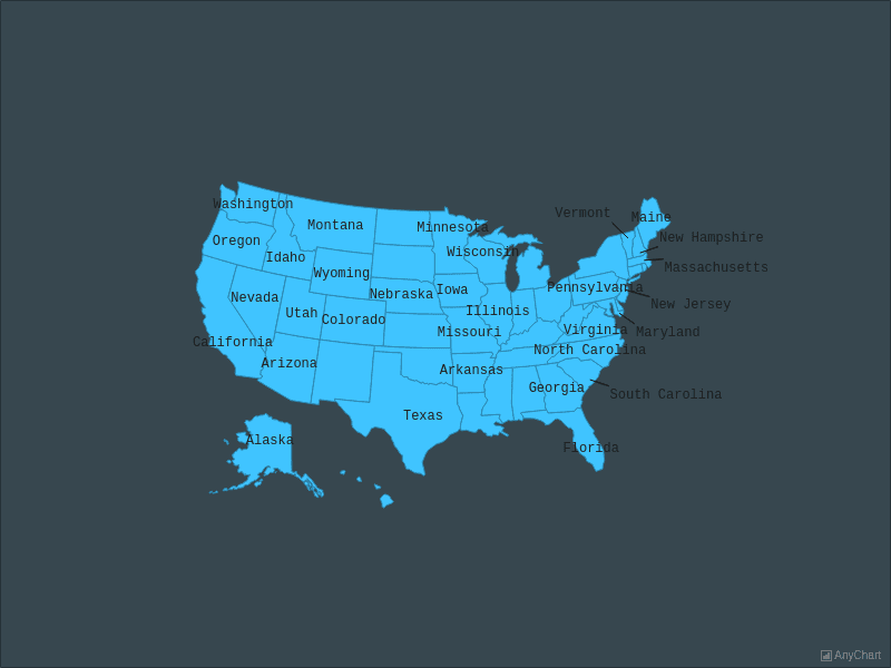USA Map With Outside Labels with Dark Blue theme | Maps General Features | AnyMap Gallery | AnyChart