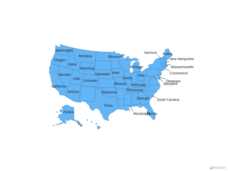 USA Map With Outside Labels | Maps General Features | AnyMap Gallery | AnyChart