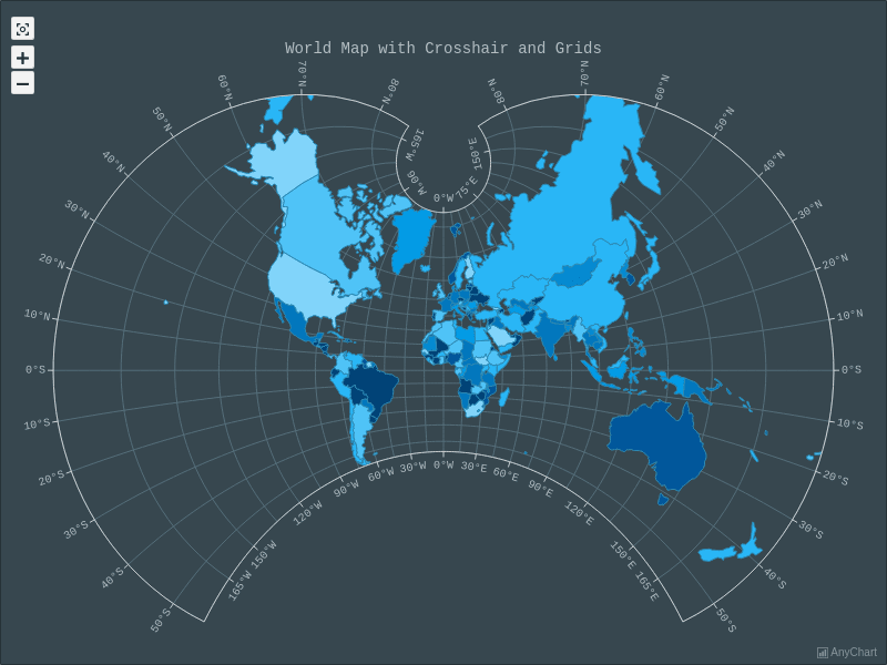 World Map with Crosshair and Grids with Dark Blue theme | Maps General Features | AnyMap Gallery | AnyChart