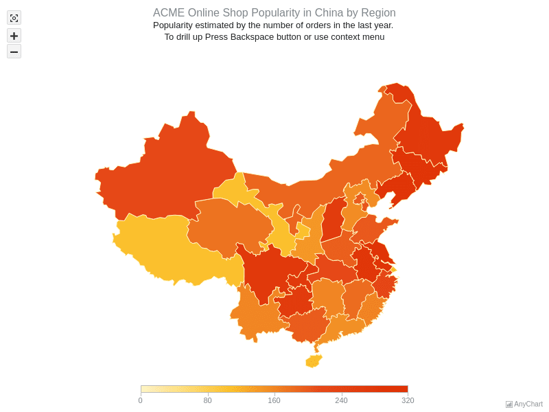 ACME sales in China Regions | Maps with Drill Down | AnyMap Gallery | AnyChart